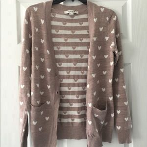 Forever 21 Tan Hearts Cardigan, Button Up Sweater
